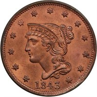 L1C 1843 PETITE HEAD, SMALL LETTERS. PCGS MS64 RD