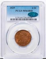 1/2C 1829 PCGS MS64 RB CAC
