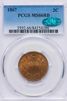 2C 1867 PCGS MS66 RB CAC