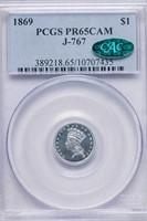 G$1 1869 J-767. PCGS PR65 CAM CAC