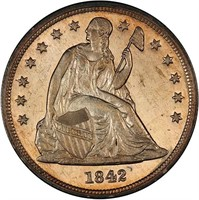 $1 1842 PCGS MS64 CAC
