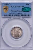 10C 1896-O PCGS MS66+ CAC EX PITTMAN/SIMPSON.