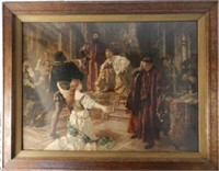 """Coloured lithograph by Carl L.F. Becker (120-1900), """"Scene from Othello"""", 36 x 48 inches, estimate $300-$500"""