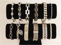 Several beautiful silver bracelets