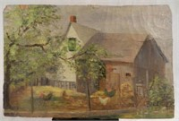 """Oil on board by I. BECK """"A barnyard"""", 7.25 X 11 inches, dated 1924, condition noted"""