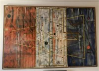 Large abstract by author and painter Michel Dudragne (1921-1999), dated 1964, 48 x 74 inches