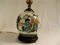 Asian pottery, table lamp base, 6 inches tall