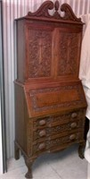 Drop-front secretaire beautifully carved with great detail, Krug furniture