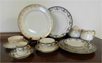 Extensive set of Limoges, two patterns (blue and pink), includes some large platters and tureens