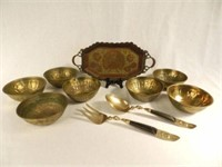 19th Century Indian tray, 7 small brass bowls and salad servers from Thailand