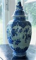 DEFLT flow blue vase with sitting lion on lid