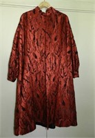 3/4 lenght silk coat, (can be a shrug) in red and black detail