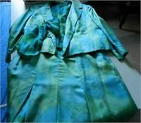 Made in Switzerland for HOLT RENFREW, 3 piece silk ensemble, blue and green