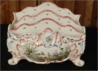 Hand painted French porcelain letter holder, marked