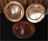 Set of 10 hand hammered copper chargers