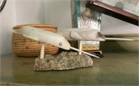Inuit carving, pair of Narwhals