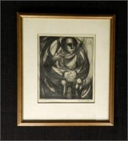 """ARNOLD BELKIN, ink on paper, dated 1958, height 7 1/2"""" X width 6 1/2"""""""