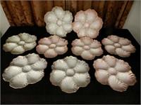 LIMOGES, 9 antique oyster plates, France