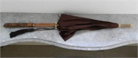 Antique umbrella, carved handle and ivory