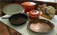 LE CREUSET, cast iron and brass pans, vintage meat slicer