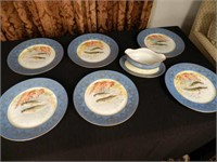 LIMOGES, 6 dinner plates and sauce boat, France