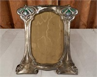 Art Nouveau hallmarked silver and shaped enamel by WILLIAM HUTTON AND SONS, frame with original backing