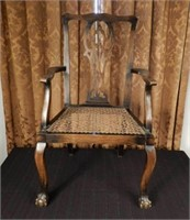 Antique child's size Chippendale style chair, marked Made in England WALTER SKULL & SON LTD.