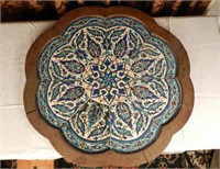 Morocan table top with blue mosaic details