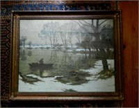 """Attributed to HERMAN N. HYNEMAN (1849-1907), oil on canvas, River scene, height 30"""" X width 38"""""""