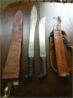 Pair of WWII LEGITIMUS COLLINS & CO. machetes with sheaths
