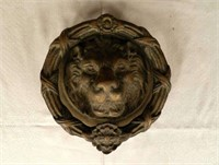 Large bronze lion door knocker