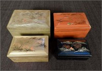 Hand painted lacquered nesting boxes, Asian pattern