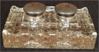 Cut glass double inkwell with Sterling silver tops