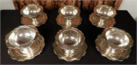Set of 6 antique CAN. WM. A. ROGERS LTD. heirloom silver plated grapefruit serving bowls (plate attached to holder)