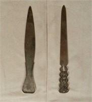Birks Sterling letter opener and a continental filigree silver letter opener