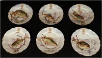6 hand-painted porcelain fish plates marked HACHE JULLIEN & Cie VIERZON PARIS, monogrammed L. J. F. , dated 1878