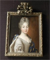 """Duchesse de Bourgoygne, wife of Louis XIV at the age of c. 15, oil on canvas, unsigned, height 15"""" X width 13"""""""