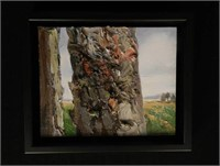 """AINO LUTTER, close up of a tree, oil on board, signed, height 8"""" X width 10"""""""