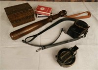 Card holder, bat and compass with leather case