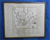 """Antique map """"Carte particuliere du Fleuve Saint Louis"""", visual record of First Nations, commercial activities, animals, trees, fruits, etc."""