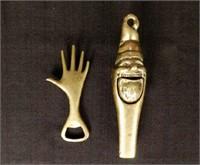 CARL AUBOCK bottle opener, and brass nut cracker