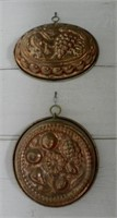 Pair of copper molds, fruit pattern