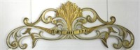 """Early 19th Century Quebec large pine wall carving """"Sainte-Anne P.P.N."""", gilded with original colour"""