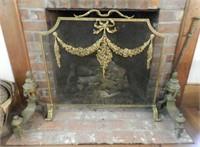 Antique Louis XVI style brass fire screen