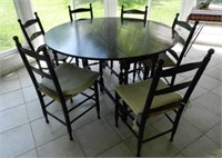 Country black table and 6 chairs