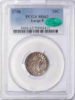 10C 1798 LARGE 8. PCGS MS62 CAC