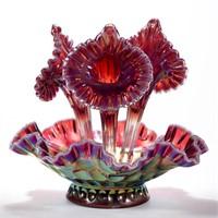 FENTON CARNIVAL GLASS THUMBPRINT EPERGNE, Plum