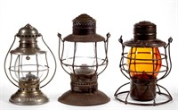 Many marked railroad lanterns