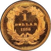 G$1 1866 PCGS MS67+ CAC