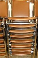 8 Chrome Stacking Vinyl Chairs